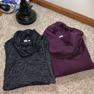 Lot of 2- Black and Purple Turtleneck Sweaters- M